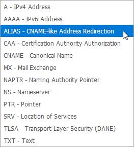 Auswahl eines Eintrags vom Typ ALIAS im Kundenmenü