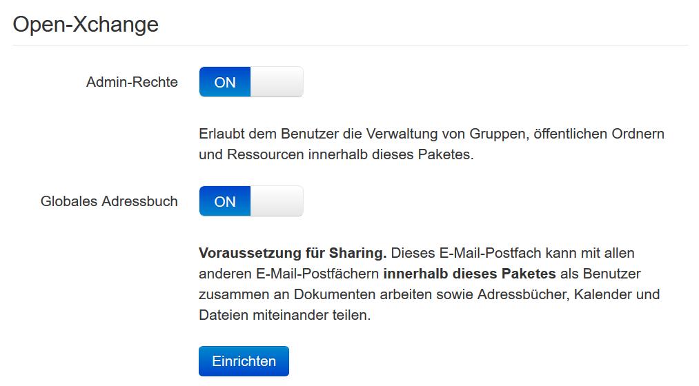 Einrichtung von Open-Xchange im neuen Kundenmenü