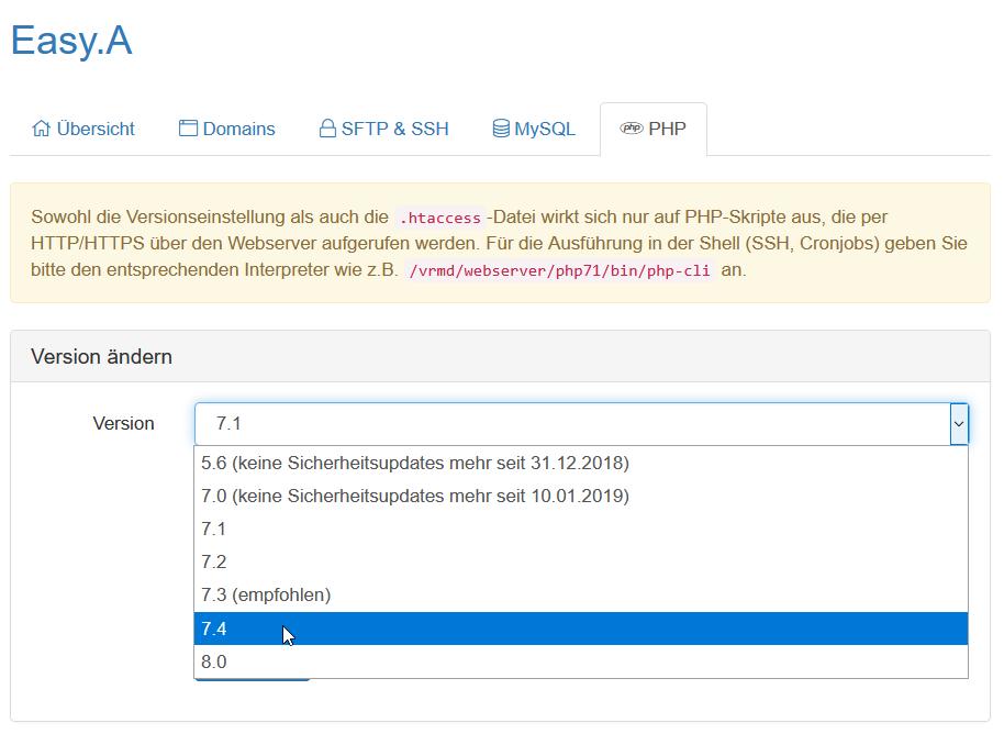 Auswahl der PHP-Version im Kundenmenü