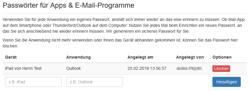Liste der angelegten Application Passwords für ein Postfach