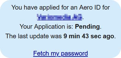 Passwort für .aero-ID anfordern