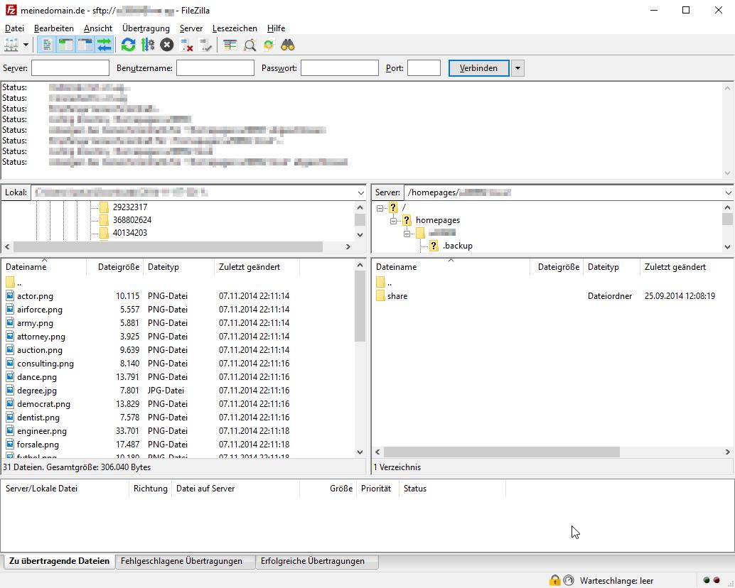 Dateiansicht in FileZilla
